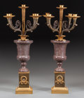 Decorative Arts, French:Lamps & Lighting, A PAIR OF FRENCH EMPIRE-STYLE PORPHYRY AND GILT BRONZE FIVE-LIGHTCANDELABRA, circa 1900. 21-1/2 x 11-1/2 x 11-1/2 inches (5...(Total: 2 Items)