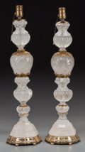 Decorative Arts, French:Lamps & Lighting, A PAIR OF ROCK CRYSTAL AND GILT BRONZE LAMPS, 20th century. 26 inches high (66.0 cm) (overall). ... (Total: 2 Items)