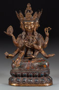 Asian:Chinese, A CHINESE GILT BRONZE AND CLOISONNÉ SEATED DEITY. 23 inches high(58.4 cm). ...