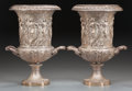 Decorative Arts, Continental:Other , A PAIR OF NEOCLASSICAL SILVERED METAL URNS, 20th century. 19-1/2 x16 x 14 inches (49.5 x 40.6 x 35.6 cm). ... (Total: 2 Items)