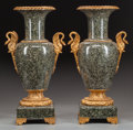 Decorative Arts, French:Other , A PAIR OF LOUIS XVI-STYLE VERDE MARBLE URNS WITH GILT BRONZEMOUNTS, 20th century. 22-1/2 x 7-1/4 x 7-1/4 inches (57.2 x 18....(Total: 2 Items)
