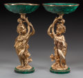 Decorative Arts, Continental:Other , A PAIR OF LOUIS XVI-STYLE MALACHITE AND GILT BRONZE FIGURAL TAZZAS,20th century. 15-1/2 inches high x 8 inches diameter (39... (Total:2 Items)