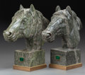 Decorative Arts, Continental:Other , A PAIR OF GREEN VARIEGATED MARBLE HORSE HEADS, 20th century. 17 x5-1/4 x 17-1/4 inches (43.2 x 13.3 x 43.8 cm). ... (Total: 2 Items)