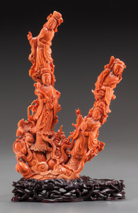 A LARGE CHINESE CARVED CORAL FIGURAL GROUP ON CARVED WOOD STAND 11 inches high (33.7 x 20.3 x 7.6 cm)