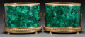 Decorative Arts, Continental:Other , A PAIR OF NEOCLASSICAL BRONZE AND MALACHITE JARDINIÈRES, 20thcentury. 11 inches high x 13 inches diameter (27.9 x 33.0 cm)...(Total: 2 Items)