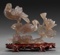 Asian, A CHINESE CARVED QUARTZ FIGURAL GROUP. 8 inches high (20.3 cm). ...