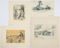 Books:Original Art, Ten Sketches of Greece. Ca. 1930s. Pen and ink. Either initialed or signed by Williams. Six are matted. Largest measures... (Total: 10 Items)