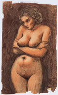 Books:Original Art, Study of a Nude Woman. Pastel, charcoal and watercolor on paper. Signed by Williams on the verso. Measures 12.25 x 20.5 ...