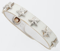 Chrome Hearts White Leather & Sterling Silver Bracelet