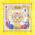 "Luxury Accessories:Accessories, Hermes 90cm Yellow & Gold ""1789 Liberte Egalite Fraternite,"" byJoachim Metz Silk Scarf. Excellent Condition . 36"" Widthx..."
