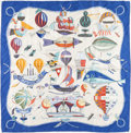 "Luxury Accessories:Accessories, Hermes 90cm Blue & White ""Les Folies du Ciel,"" by Loïc DubigeonSilk Scarf. ..."