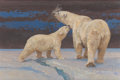 Fine Art - Painting, American:Contemporary   (1950 to present)  , BOB KUHN (American, 1920-2007). Mother Polar Bear and Cub,2004. Acrylic on Masonite. 20 x 30 inches (50.8 x 76.2 cm). S...