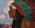 Paintings, ERNEST LEONARD BLUMENSCHEIN (American, 1874-1960). Taos Indian Chief. Oil on canvas laid on board. 16 x 20 inches (40.6 ...