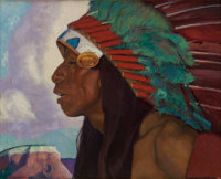ERNEST LEONARD BLUMENSCHEIN (American, 1874-1960) Taos Indian Chief Oil on canvas laid on board 1