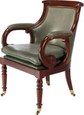 Furniture , A REGENCY-STYLE MAHOGANY AND LEATHER OFFICE CHAIR, circa 1940. 34-1/2 inches high (87.6 cm). PROPERTY FROM THE COLLECTION ...