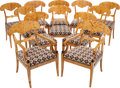 Furniture : Continental, SET OF TWELVE SCANDINAVIAN BIEDERMEIER-STYLE FLAMING BIRCHUPHOLSTERED DINING CHAIRS, circa 1900. 35 x 23 x 22 inches (88.9... (Total: 12 Items)