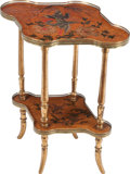 Furniture : French, A FRENCH JAPANESQUE PAINTED MAPLE AND BRASS TABLE, circa 1890.29-1/2 x 25 x 17-3/4 inches (74.9 x 63.5 x 45.1 cm). ...