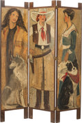 Miscellaneous, A THREE-PANEL PAINTED FOLDING SCREEN, 20th century. 68 x 51 x 0-3/4inches (172.7 x 129.5 x 1.9 cm). PROPERTY FROM THE COL...