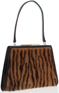 Luxury Accessories:Bags, Loewe Brown & Black Ponyhair Top Handle Bag. ...