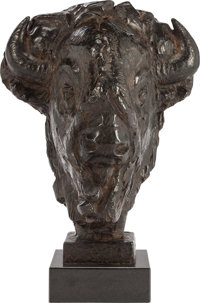FLOYD T. DEWITT (American, b. 1934) Mask of the Minotaur, 1994 Bronze with brown patina 22-1/2 in