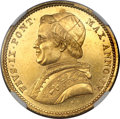 Italy, Italy: Papal States. Pius IX gold 10 Scudi 1850-R Anno IV MS62NGC,...