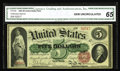 Large Size:Legal Tender Notes, Fr. 63b $5 1863 Legal Tender CGA Gem Uncirculated 65. 63b is aslightly scarcer Friedberg number, with about 75 examples kno...