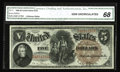 Large Size:Legal Tender Notes, Fr. 71 $5 1880 Legal Tender CGA Gem Uncirculated 68. Pedigreed fromthe J. Whitney Walter sale, this Large Brown Seal Red Se...