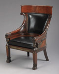 Furniture , An Empire Mahogany Bronze Mounted Armchair. Unknown maker, French. Circa 1850. Mahogany, leather, bronze. Unmarked. 39-1/2...
