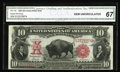 Large Size:Legal Tender Notes, Fr. 118 $10 1901 Legal Tender CGA Gem Uncirculated 67. A handsomeBison with excellent face margins, a bold red overprint, a...