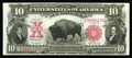 Large Size:Legal Tender Notes, Fr. 119 $10 1901 Legal Tender New. Nice margins are noticed on thisBison which is somewhat flat....