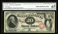 Large Size:Legal Tender Notes, Fr. 128 $20 1875 Legal Tender CGA Gem Uncirculated 67. This note isa real peach, with broad margins and super color. This n...