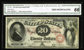 Large Size:Legal Tender Notes, Fr. 128 $20 1875 Legal Tender CGA Gem Uncirculated 66. The printingquality is excellent though the red overprint including ...