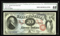 Large Size:Legal Tender Notes, Fr. 129 $20 1878 Legal Tender CGA Gem Uncirculated 68. From ourJanuary 2003 sale, where it was graded Gem. This is the vari...