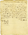 Autographs:Military Figures, Revolutionary War General Edward Hand War-Dated Autograph Document Signed Three Times Mentioning Declaration Signer Benjamin H...