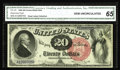 Large Size:Legal Tender Notes, Fr. 135 $20 1880 Legal Tender CGA Gem Uncirculated 65. Only about50 examples of this number are known, most of which are we...