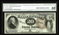 Large Size:Legal Tender Notes, Fr. 138 $20 1880 Legal Tender CGA Gem Uncirculated 68. A gorgeous note, and one of fewer than ten high-grade pieces known of...