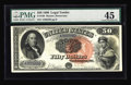 Large Size:Legal Tender Notes, Fr. 160 $50 1880 Legal Tender PMG Choice Extremely Fine 45. Of the fifteen known Fr. 160s, four are permanently impounded in...