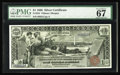 Large Size:Silver Certificates, Fr. 224 $1 1896 Silver Certificate PMG Superb Gem Unc 67. Astunning One Dollar Ed, with broad, even margins, ideal colors a...