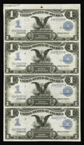 Large Size:Silver Certificates, Fr. 226a $1 1899 Silver Certificate Uncut Sheet Extremely Fine. Abright, colorful, uncut sheet of Black Eagles. Fr. 226a is...