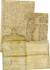 French and Indian War: 1757 Fort Edward General Orders. Three documents, five pages, Fort Edward, New York, 1757, ink. A...