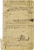 Autographs:Statesmen, Rare 1702 Account Page from an Albany Merchant's Book with drawingsof a beaver, bear and Indians. (Albany, 1702). The sheet... (Total:1 Item)
