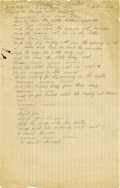 "Autographs:Artists, Woody Guthrie: Handwritten Lyrics to a Song About His DaughterCathy. One page, 8"" x 12.5"", a song he wrote for his daughter...(Total: 1 Item)"