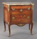 Furniture : French, A Louis XV-Style Bronze Mounted Marquetry Inlaid Petit Commode.Early 19th century. Bronze, marble, marquetry. 35 x 33 x 2...