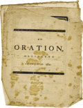 Books:Pamphlets & Tracts, [Boston Massacre] Benjamin Church: An Oration Delivered MarchFifth, 1773....