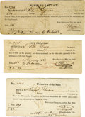 Miscellaneous:Ephemera, Lot of Three New Orleans Slave Tax Documents. ... (Total: 3 Items)