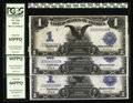 Large Size:Silver Certificates, Fr. 234 and 235 $1 1899 Silver Certificates Changeover Trio PCGSGem New 65-66PPQ. The first note in this wonderful group of...(Total: 3 notes)