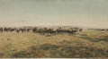 "Photography:Official Photos, DRAMATIC HAND-TINTED SIGNED HUFFMAN IMAGE. Impressive 16"" x 7""hand-tinted photograph depicting cowboys as they round up a ...(Total: 1 Item)"