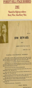 """Western Expansion:Cowboy, EXTREMELY RARE STAGECOACH """"HOLDUP"""" WANTED POSTER FOR HENRY WEST.Wanted for holding up and robbing the Forest Hill stage on ...(Total: 1 Item)"""