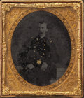 Photography:Tintypes, HAND-GILDED 1/6 PLATE TINTYPE OF UNKNOWN UNION SOLDIER IN CASE.Rarely-seen hand-gilding on buttons, epaulets and belt in th...(Total: 1 Item)