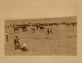 Photography:Official Photos, GREAT ACTION SHOT OF BRANDING AT TEXAS RANCH, ca 1880-1890. Cowboys, ranch hands, even children pitch in to get the cattle o... (Total: 1 Item)